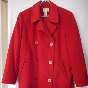 L.L. Bean Cashmere Wool Thinsulate Red Pea Coat